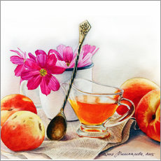 Autocolante decorativo Peaches and flowers watercolor painting