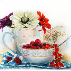 Autocolante decorativo Flowers and berries watercolor painting
