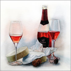 Autocolante decorativo Wine and cheese watercolor painting