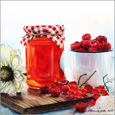 Autocolante decorativo Raspberry jam watercolor painting