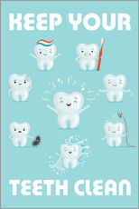 Autocolante decorativo  Keep your teeth clean - Kidz Collection