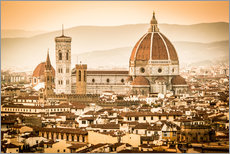 Autocolante decorativo Cityscape with Cathedral and Brunelleschi Dome, Florence
