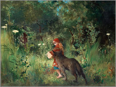 Autocolante decorativo  Little Red Riding Hood and the Wolf - Carl Larsson