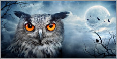 Póster Premium Owl in a full moon night