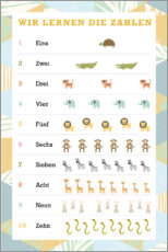 Póster Premium  We learn the numbers (German) - Kidz Collection