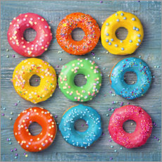 Póster Premium Colorful donuts