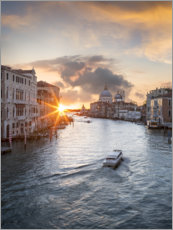 Póster Premium Grand Canal at sunset, Venice