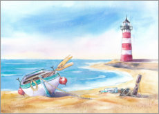 Póster Premium  Beach with lighthouse - Jitka Krause