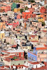 Póster Premium Colorful houses view of mexican city Guanajuato
