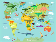 Autocolante decorativo  Mapa dos dinossauros (inglês) - Kidz Collection