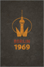 Quadro em tela  Berlin 1969 - TV Tower - Black Sign Artwork