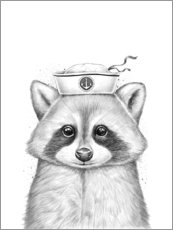 Póster Premium  Raccoon sailor - Nikita Korenkov