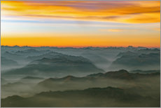 Póster Premium Morning mist in the swiss alps 2