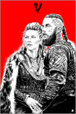 Póster Premium Lagerta and Ragnar Lothbrok