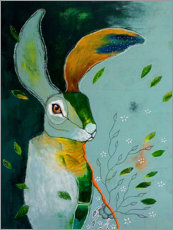 Póster Premium Abstract hare in wind