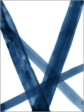 Póster Premium Watercolor Lines in Blue II
