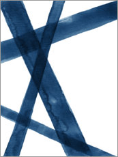 Póster Premium Watercolor Lines in Blue I