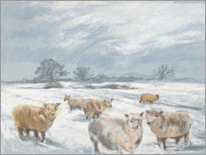 Póster Premium Winter Sheep Landscape