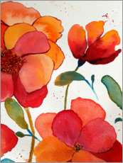Póster Premium  Pink And Orange Floral - Ruth Palmer