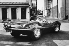 Quadro em PVC  Steve McQueen no Jaguar - Celebrity Collection