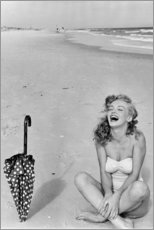 Póster Premium  Marilyn Monroe na praia - Celebrity Collection