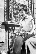Póster Premium  Audrey Hepburn na Vespa - Celebrity Collection