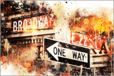 Póster Premium  NYC Broadway One Way - Philippe HUGONNARD