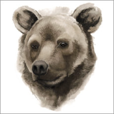 Autocolante decorativo  Retrato grizzly - Grace Popp