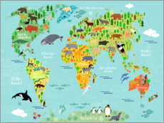 Póster Premium  Mapa do mundo dos animais (dinamarquês) - Kidz Collection