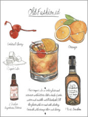 Póster Premium Cocktail clássico - Old Fashioned