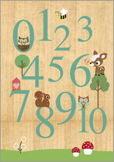 Quadro em plexi-alumínio  Educational Numbers - learn to count - GreenNest