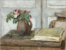 Autocolante decorativo  Still life with the artist painting set and a vase with moss roses - Edouard Vuillard