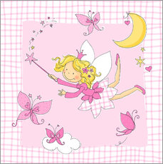 Autocolante decorativo flying fairy with butterflies on checkered background