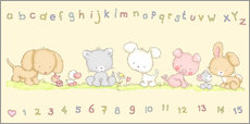 Quadro em plexi-alumínio  baby pet animals with alphabet and numbers - Fluffy Feelings
