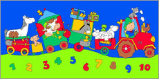 Quadro em plexi-alumínio  tractor train with farm animals and numbers - Fluffy Feelings