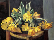 Quadro em alumínio  Double Yellow Tulips on a Wicker Chair - Felix Edouard Vallotton