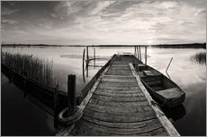 Quadro em plexi-alumínio  Wooden pier on lake, black and white - Frank Herrmann