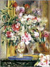 Autocolante decorativo  Vase of flowers in front of the mirror - Pierre-Auguste Renoir