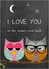 Autocolante decorativo  Owls - I love you to the moon and back - GreenNest