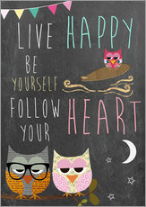 Quadro em plexi-alumínio  Live Happy, be yourself, follow your heart - GreenNest