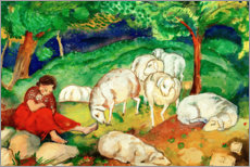 Quadro em tela  Shepherdess with sheep - Franz Marc