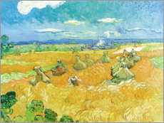 Póster Premium  Wheat Field with Reaper - Vincent van Gogh