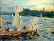 Quadro em plexi-alumínio  Sailboats on the Alster Lake in the evening - Max Slevogt