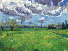 Póster Premium Meadow with flowers and leaden sky