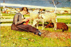 Autocolante decorativo  A Girl Knitting - Giovanni Segantini