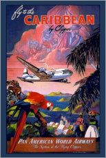 Póster Premium  Fly to Caribbean by clipper - Travel Collection