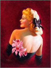 Quadro em plexi-alumínio  Glamour Pin Up with Pink Orchids - Art Frahm
