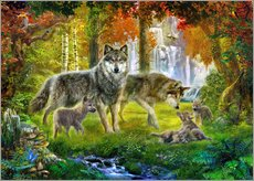 Autocolante decorativo  Summer Wolf Family - Jan Patrik Krasny