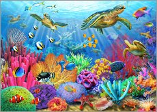 Autocolante decorativo  Turtle coral reef - Adrian Chesterman