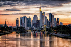 Autocolante decorativo  Frankfurt Skyline Sunset Skyscrapers - Frankfurt am Main Sehenswert